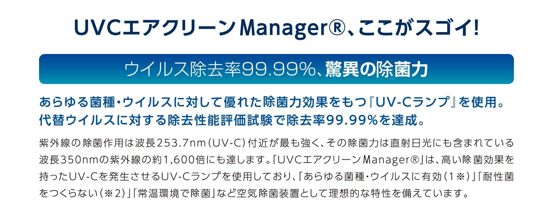 UVCエアクリーンManager、ここがスゴイ! ウイルス除去率99.00%、驚異の除菌力